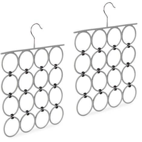 2 x Scarf Hanger, Folding Holder for Ties & Belts, 16 Rings, Compact Closet Organiser, Grey