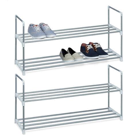 2 x Schuhregal Metall, 2 Ablagen, beliebig erweiterbar, Schuhablage für 8 Paar Schuhe, HBT: ca 45 x 90 x 30 cm, silber