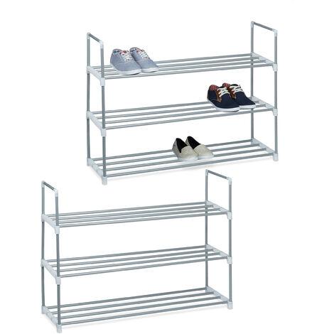 2 x Schuhregal Metall, 3 Ablagen, beliebig erweiterbar, Schuhablage für 12 Paar Schuhe, HBT: ca 70 x 90 x 31 cm, silber