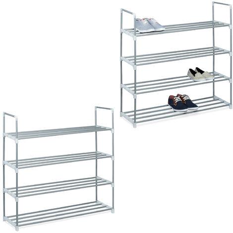 2 x Schuhregal Metall, 4 Ablagen, beliebig erweiterbar, Schuhablage für 16 Paar Schuhe, HBT: ca 93 x 90 x 31 cm, silber