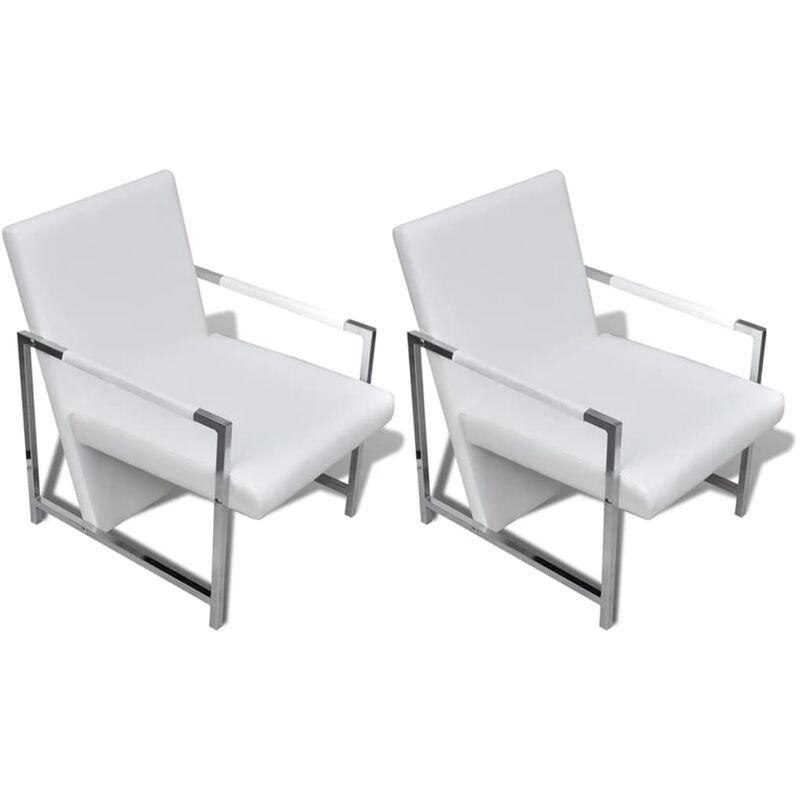 Sessel 2 Stk. Verchromtes Gestell Kunstleder Weiß