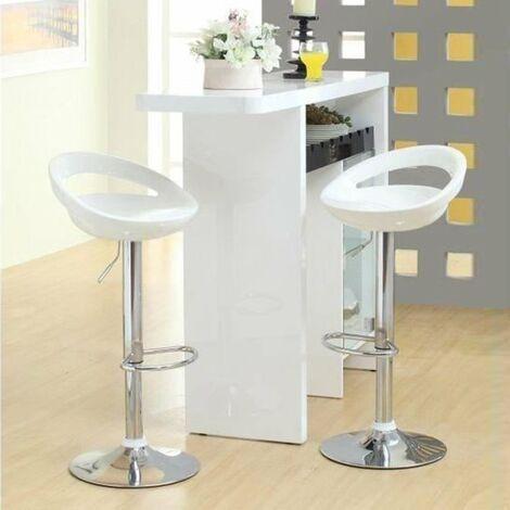 2 x Sgabelli da Bar, 360° Girevole,Altezza Regolabile 59-80cm con Poggiapiedi,Bianca