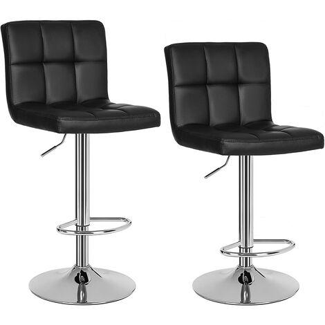 2 x Sgabelli da bar e da cucina in similpelle Regolabile Girevole con schienale Nero/Grigio/Bianco