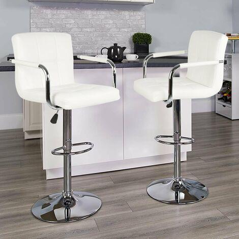 2 X Sgabelli Da Bar E Da Cucina Sgabello Lounge Con Schienale E Braccioli Rotazione Libera A 360 Bianca Cw93744 01