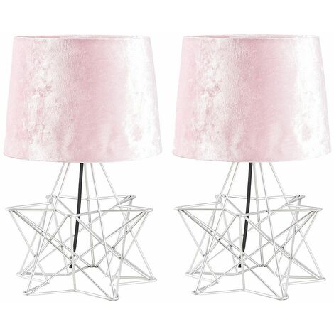 2 x Silver Geometric Star Table Lamps Velvet Shade - Grey - Silver