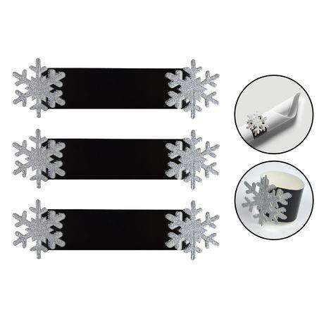 2 X SILVER GLITTER SNOWFLAKE NAPKIN RINGS