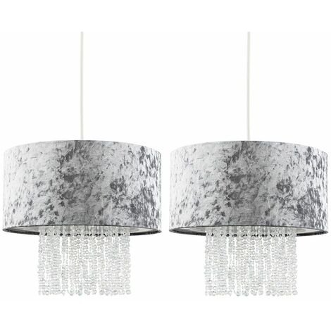 2 x Silver Grey Velvet Ceiling Pendant Light Shades With Clear Acrylic Droplets