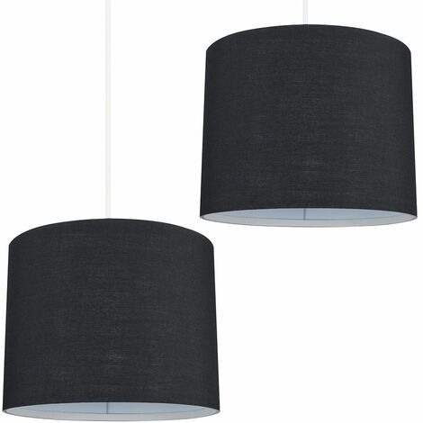 2 x Small Black Ceiling Pendant / Table Lamp Light Shades + 10W LED Gls Bulbs Warm White - Black