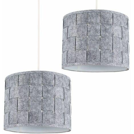 2 x Small Grey Felt Weave Ceiling Pendant / Table Lamp Light Shades + 10W LED Gls Bulbs Warm White - Grey