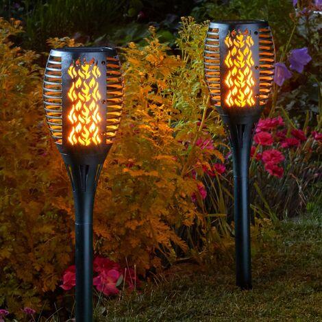 2 x Smart Garden Solar Cool Flame Torch Light Stake Bollard Lantern LED 1012624