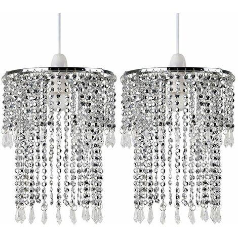 2 x Sparkling Chrome Acrylic Crystal Jewel Bead Ceiling Pendant Light Shades + 10W LED Gls Bulbs - Warm White