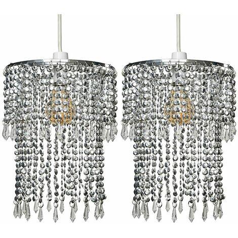 2 x Sparkling Chrome Acrylic Crystal Jewel Bead Ceiling Pendant Light Shades
