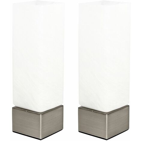 2 x Square Dimmable Chrome & Frosted Glass Touch Dimmer Table Bedside Lamps