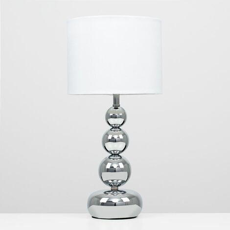 """main image of """"2 x Stacked Balls Touch Dimmer Table Lamps - White"""""""