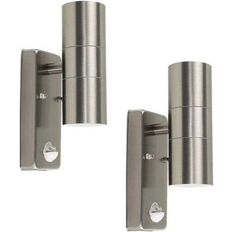 2 x Stainless Steel Up / Down Outdoor Security Wall Lights PIR Motion Sensor - Add LED Bulbs - Silver