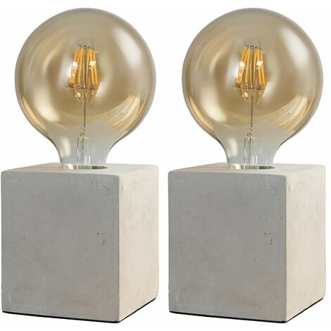 2 x Style Cube Cement/Stone Effect Table Lamps - No Bulbs - Grey