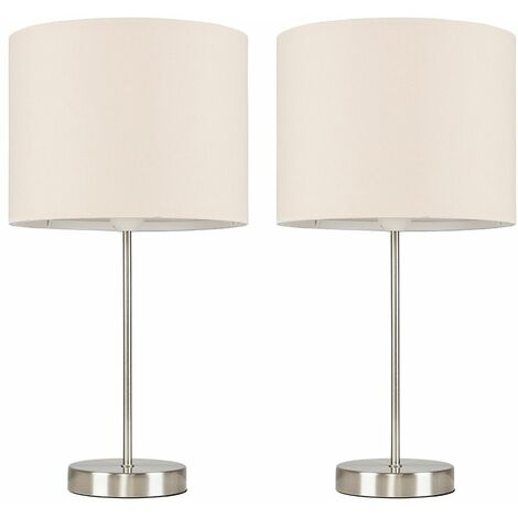 2 x Table Lamps In Brushed Chrome + Shade 4W LED Candle Bulbs Warm White - Grey - Silver
