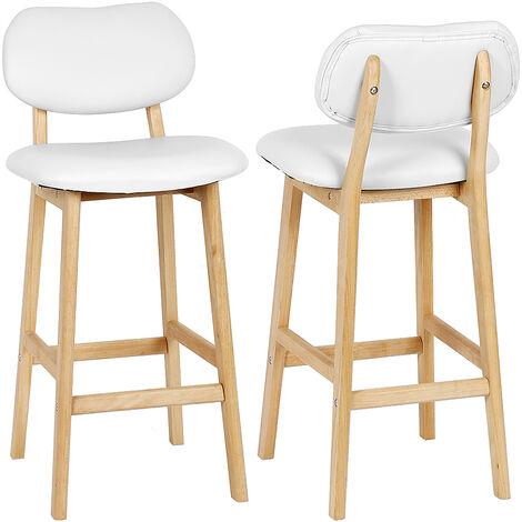 2 x Tabouret de bar avec pieds en bois, Tabouret de cuisine avec siège en similicuir