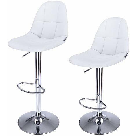 2 x Tabourets de bar Chaises Hauteur réglable rotatif Blanc LJB68W
