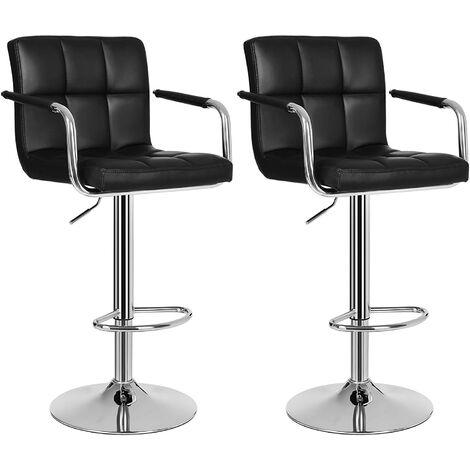 2 x Taburete de Bar regulable en altura y giratorio cromado , de cuero sintético Negro/Gris/Blanco