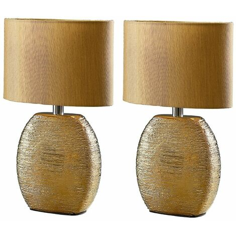 2 x Textured Gold Ceramic Table Lamps + Fabric Shade + 4W LED Golfball Bulbs Warm White - Gold