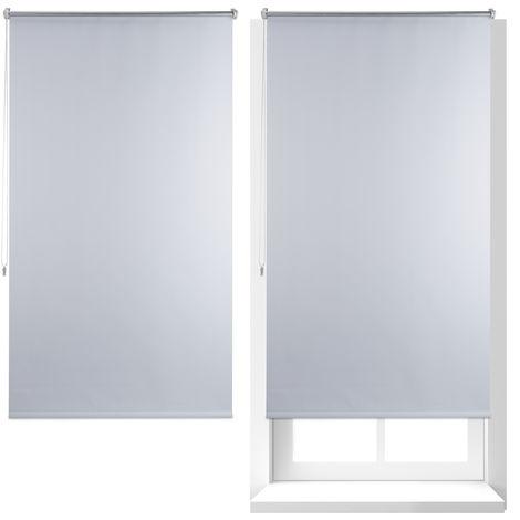 2 x Thermo Verdunklungsrollo, Hitzeschutz, Fenster Seitenzugrollo, Klemmfix ohne bohren, 90x160, Stoff 86 cm, weiß