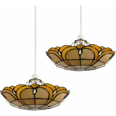 2 x Tiffany Amber Jewelled Glass Uplighter Ceiling Pendant Light Shades + 10W LED Gls Bulbs Warm White - Gold