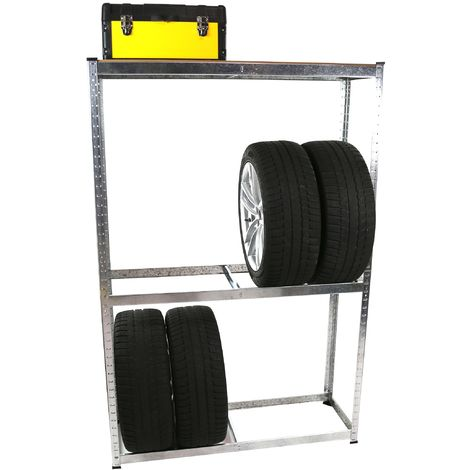 2 x Tire Storage Rack 8 Tires Modular Shelf Workshop Garage Warehouse Racking Unit 180 x 119,5 x 40 cm