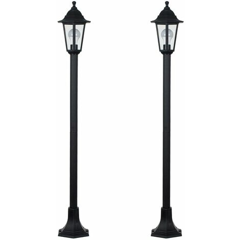 2 x - Traditional Victorian Style 1.2M Black Ip44 Outdoor Garden Lamp Post Bollard Lights