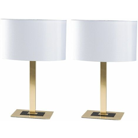 2 x - Two Tone Matt Gold & Black Table Lamps + White Shade
