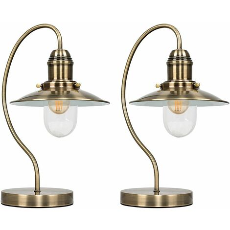 2 x Vintage Antique Brass Metal & Glass Lantern Touch Table Lamps - Gold