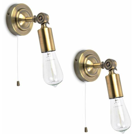 2 x Vintage Industrial Pull Cord Switch Adjustable Knuckle Joint Wall Lights - Antique Brass - Gold
