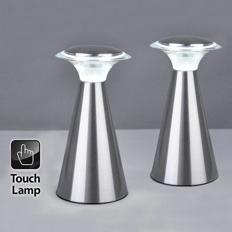 2 x Wireless Chrome Portable Battery Operated LED Touch Dimmer Table Lamps - Silver