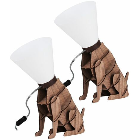 2 x Wooden Brown Dog On Lead Table Lamps + 4W LED Golfball Bulbs - Warm White - Brown