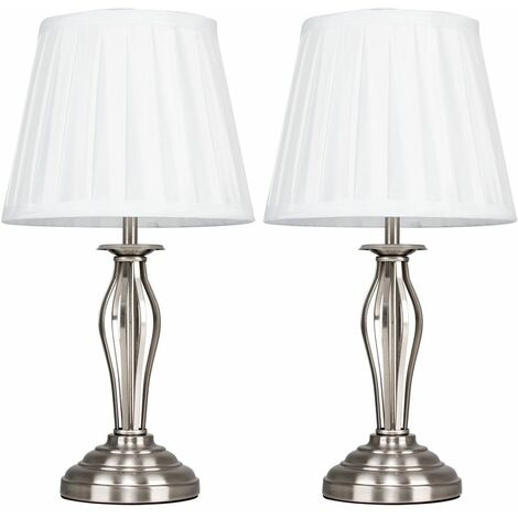 2 x Wrought Iron Touch Dimmer Table Lamps Satin Chrome Finish & White Pleated Silk Shades