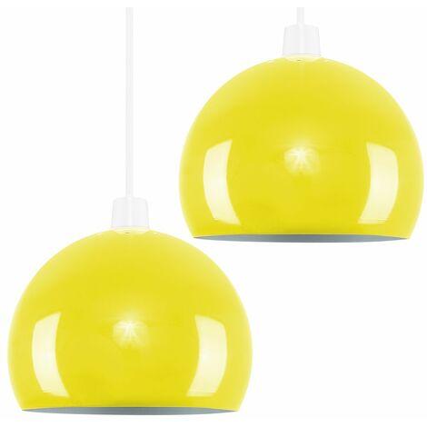 2 x Yellow Arco Ceiling Pendant Light Shades + 10W LED Gls Bulbs Warm White