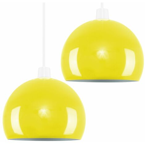 2 x Yellow Arco Ceiling Pendant Light Shades