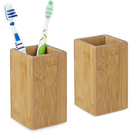 2 x Zahnputzbecher Bambus, Zahnbürstenhalter eckig, Bambusbecher für Zahnbürste und Zahnpasta, HBT 11,5 x 6,5 x 6,5 cm, natur