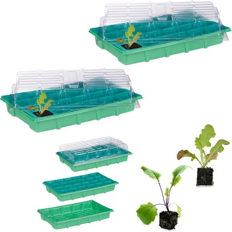 2 x Zimmergewächshaus je 24 Pflanzen, Deckel, Mini Gewächshaus, Fensterbank, Balkon, Anzuchtschale 38 x 24,5 cm, grün