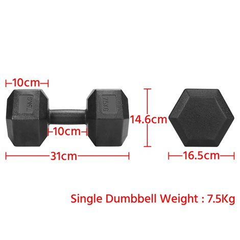 2 X7.5kg Dumbbell Weight Set,Home Gym Fitness Dumbbell Set Weight Loss Muscle Building,Black