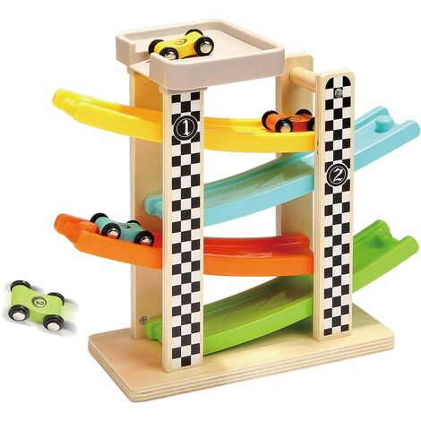 2 year old boy toy, car gift for 1 year old 2 year old child, wooden racing ramp games for 12 to 18 months