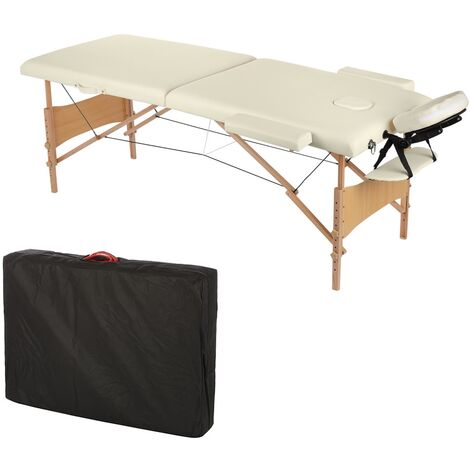 2 ZONES MOBILE MASSAGE COUCH INCL. BAG MASSAGE BENCH FOLDABLE CREAM NEW
