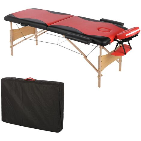 2 ZONES MOBILE MASSAGE COUCH INCL. BAG MASSAGE BENCH FOLDABLE RED/BLACK NEW