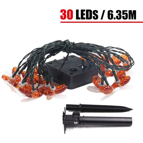 20/30/40 LEDs Solar Powered String Lights Bee Outdoor Garden Gift Decor(warmwhite,30LEDs)