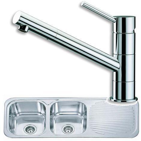 2.0 Bowl Stainless Steel Kitchen Sink & Chrome Monobloc Mixer Tap Deal (KST048)