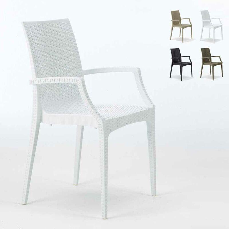 Grand Soleil - 20 chaises de jardin accoudoirs fauteuils bar café restaurant poly rattan Bistrot Arm Blanc