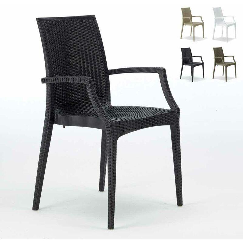 Grand Soleil - 20 chaises de jardin accoudoirs fauteuils bar café restaurant poly rattan Bistrot Arm Noir