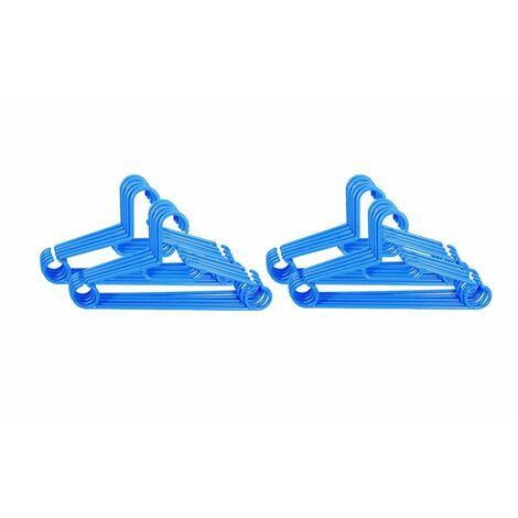20 cintres BLEUS en plastique résistant - Bleu