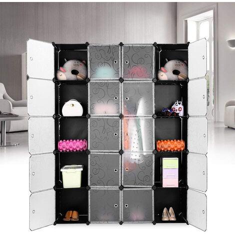 20-Cube Armoire de Chambre avec Porte Meuble de Rangement avec Penderie Modulable Tige à Vêtements pour Vêtement Chaussure