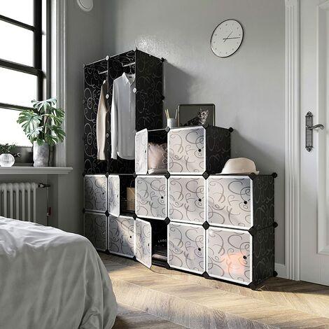 20-Cube Armoire de Chambre avec porte Meuble de Rangement avec Penderie Modulable Tige a Vetements pour Vetement Chaussure